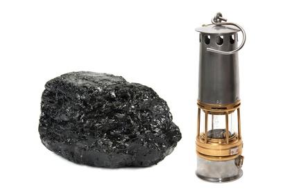 Mineurs cévenols: Bloc de charbon et lampe à flamme